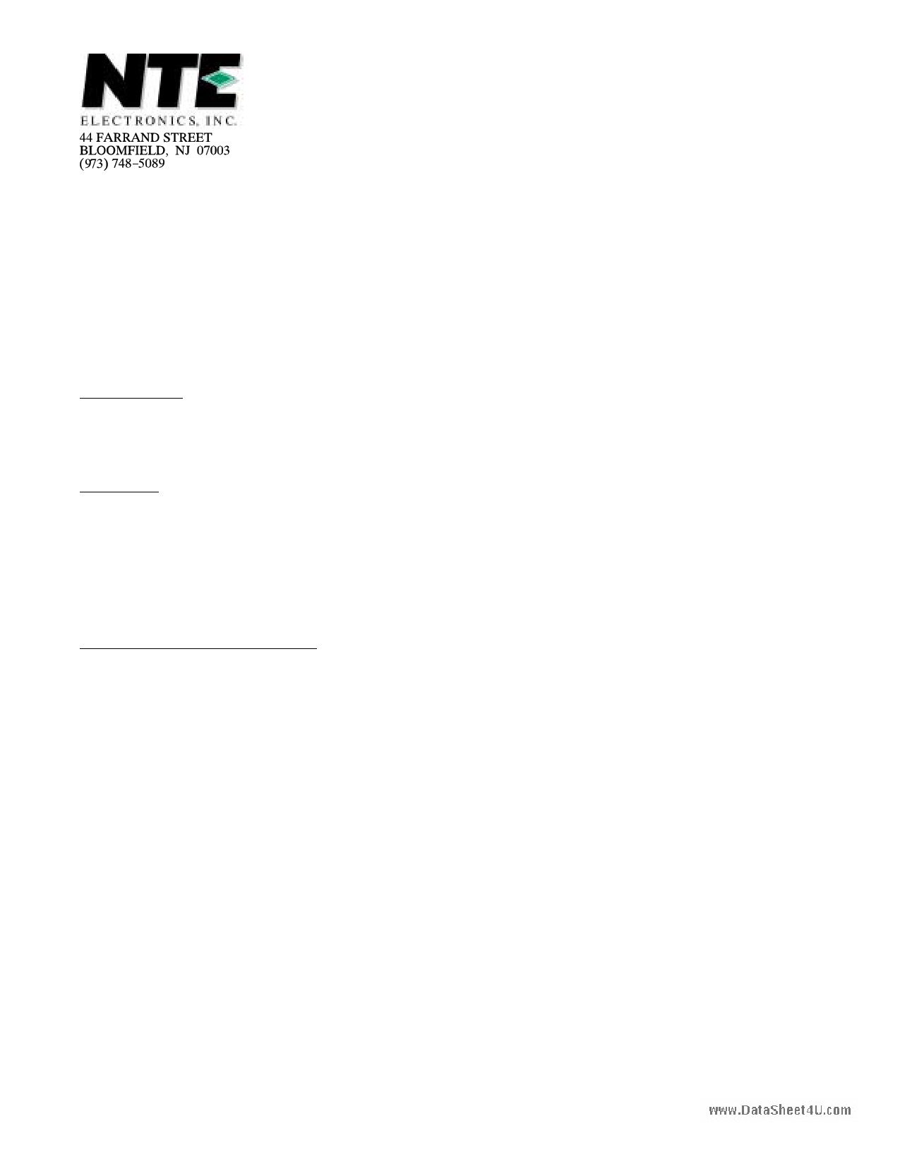 NTE5552 دیتاشیت PDF