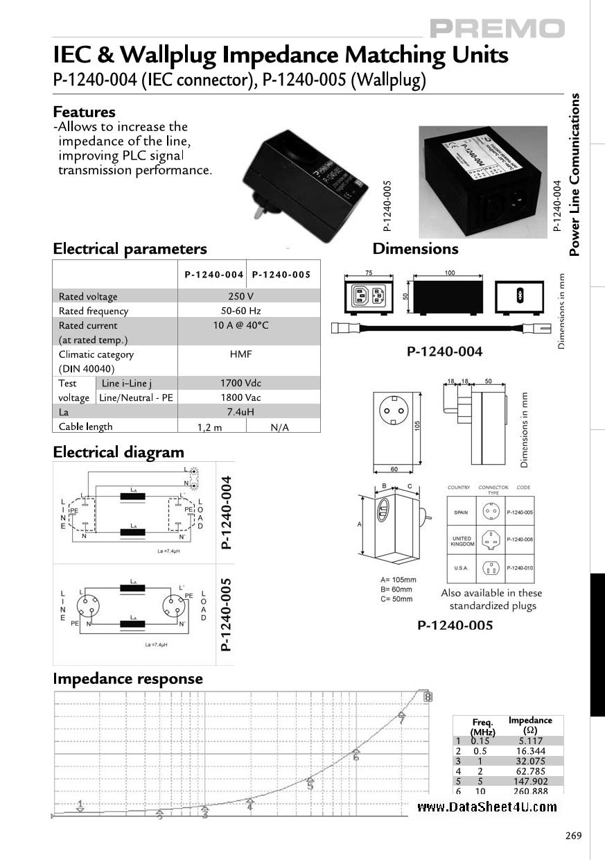 P-1240-005 دیتاشیت PDF