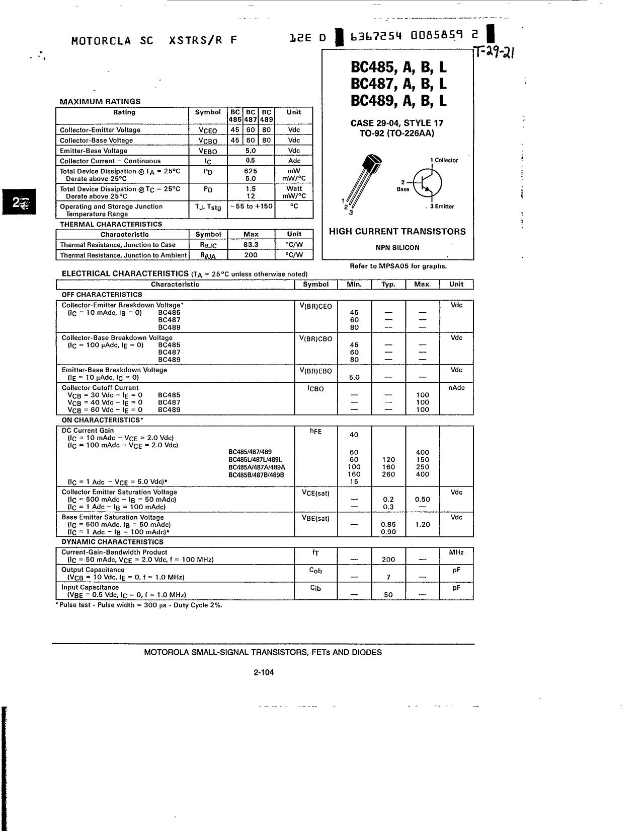 BC485A 데이터시트 및 BC485A PDF