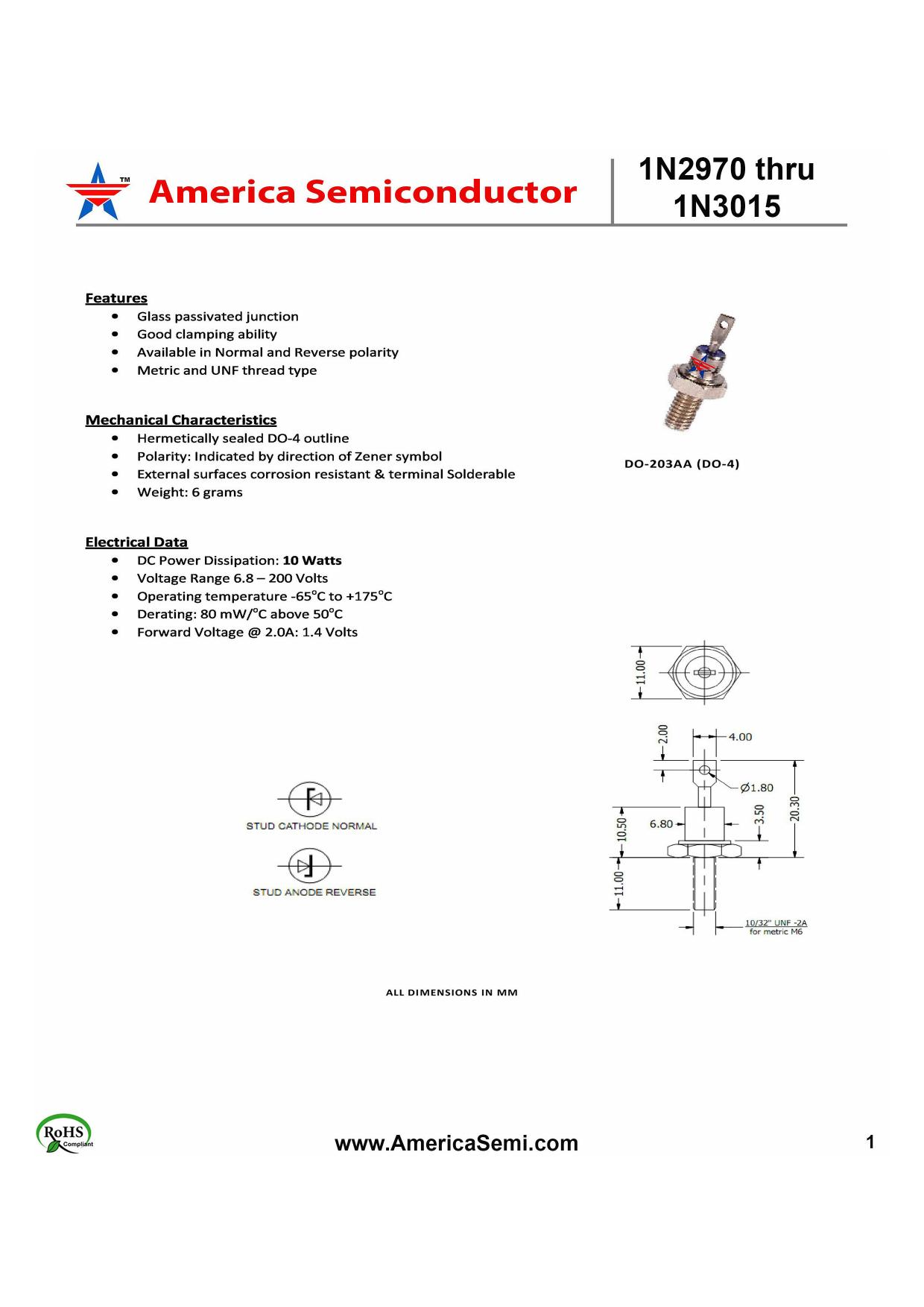 1N2980 دیتاشیت PDF
