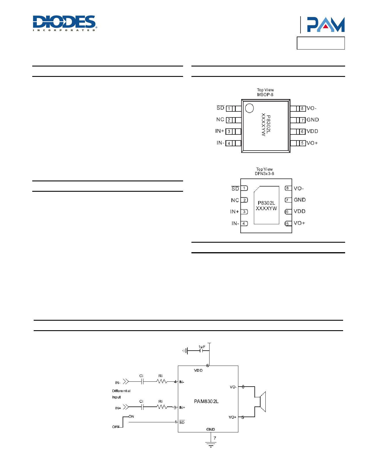 PAM8302L دیتاشیت PDF