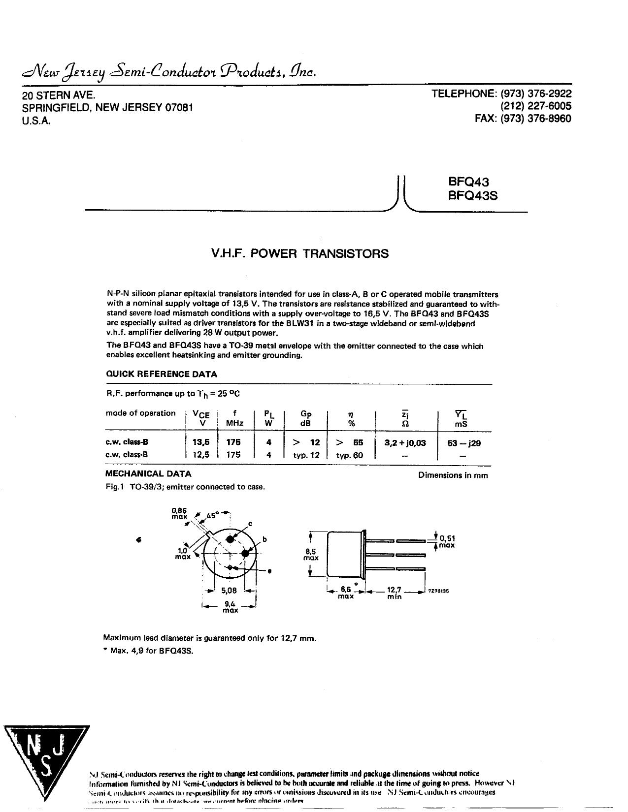 BFQ43S 데이터시트 및 BFQ43S PDF