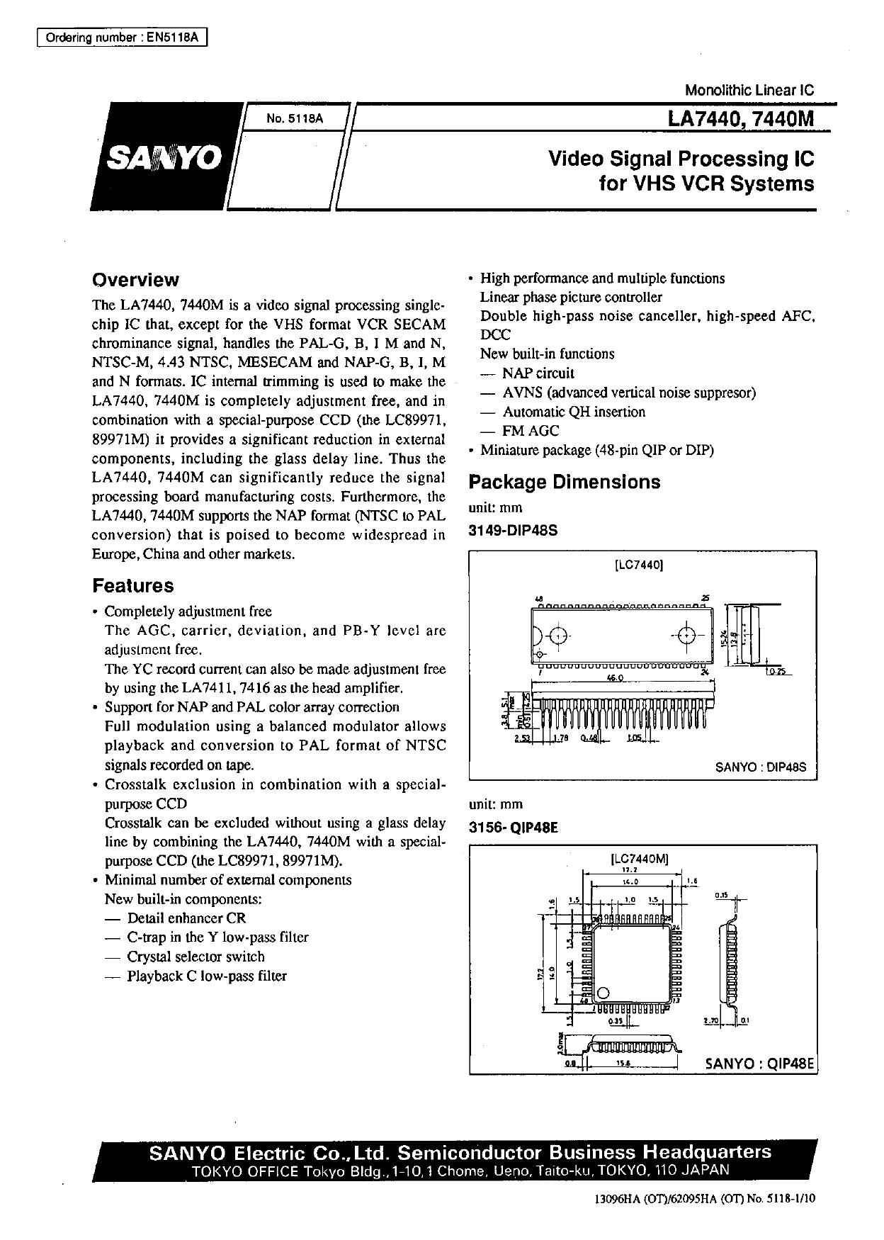 LA7440M 데이터시트 및 LA7440M PDF