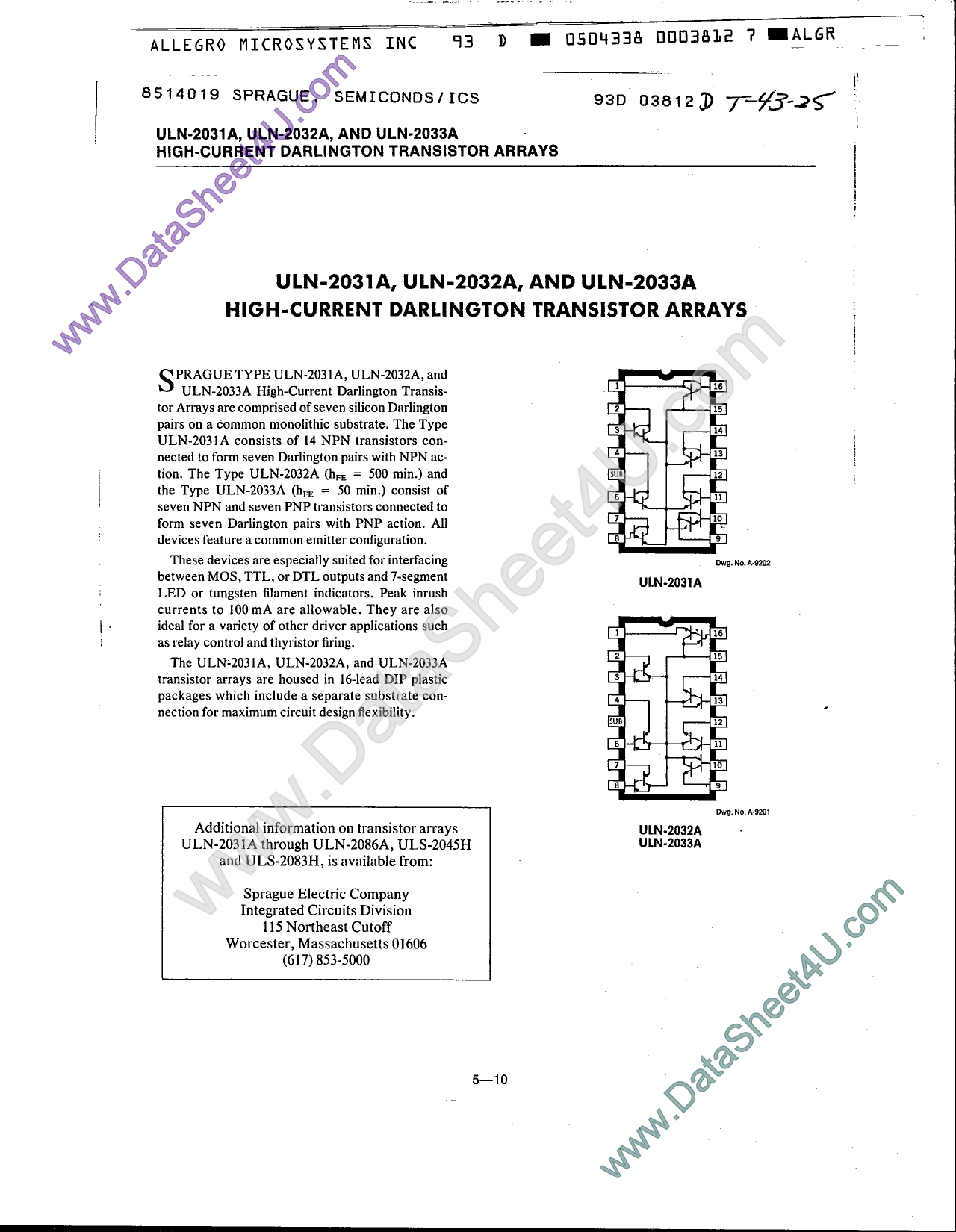 ULN-2033A Datasheet, ULN-2033A PDF,ピン配置, 機能