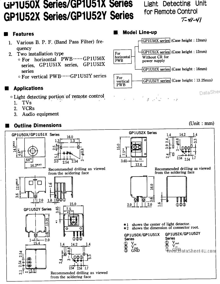GP1U50X Datasheet, GP1U50X PDF,ピン配置, 機能