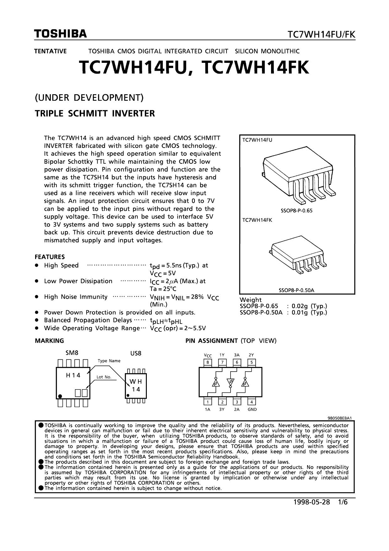 TC7WH14FK دیتاشیت PDF