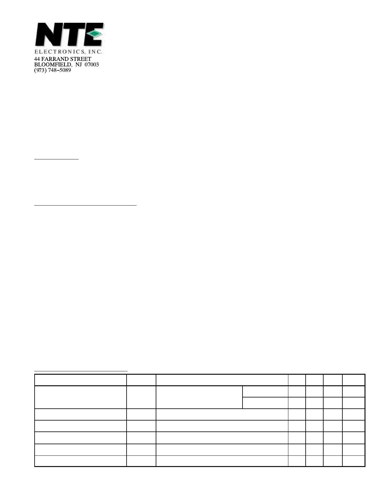 NTE5499 دیتاشیت PDF