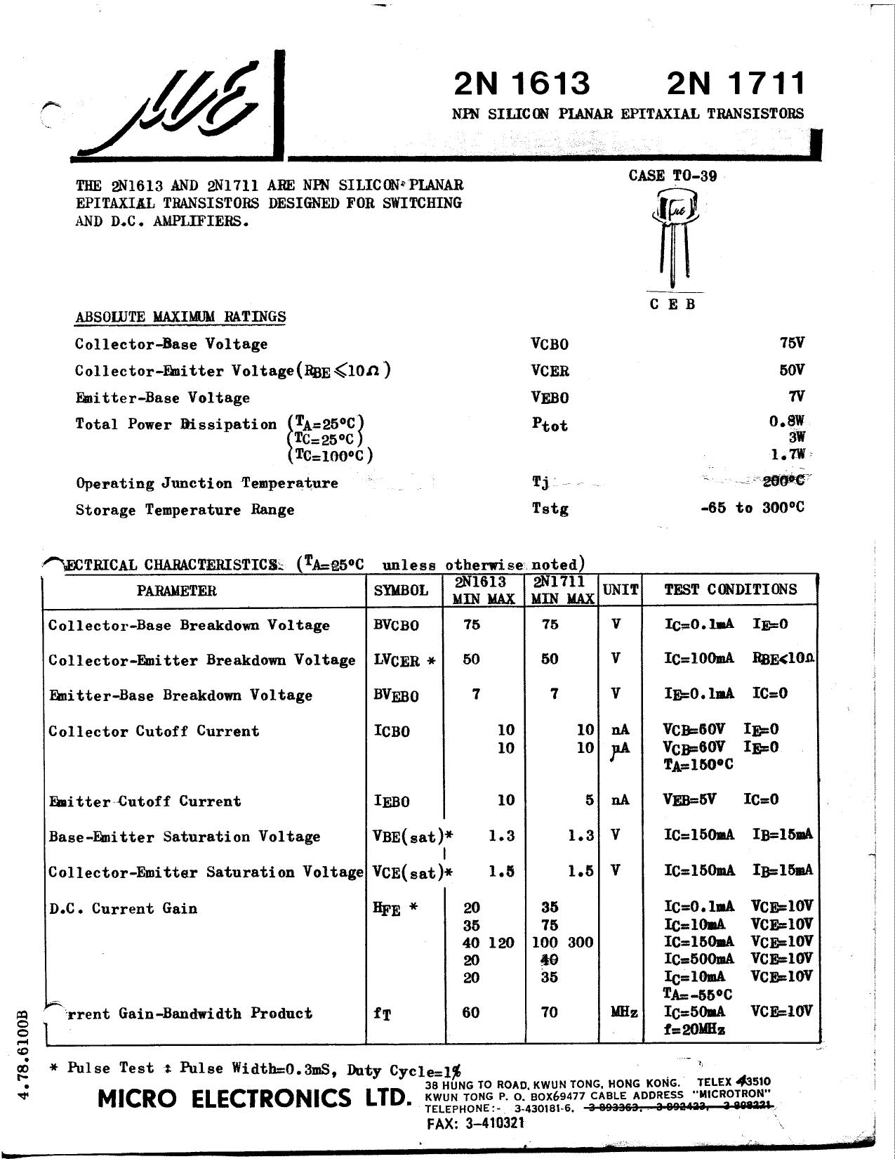 2N1613 دیتاشیت PDF