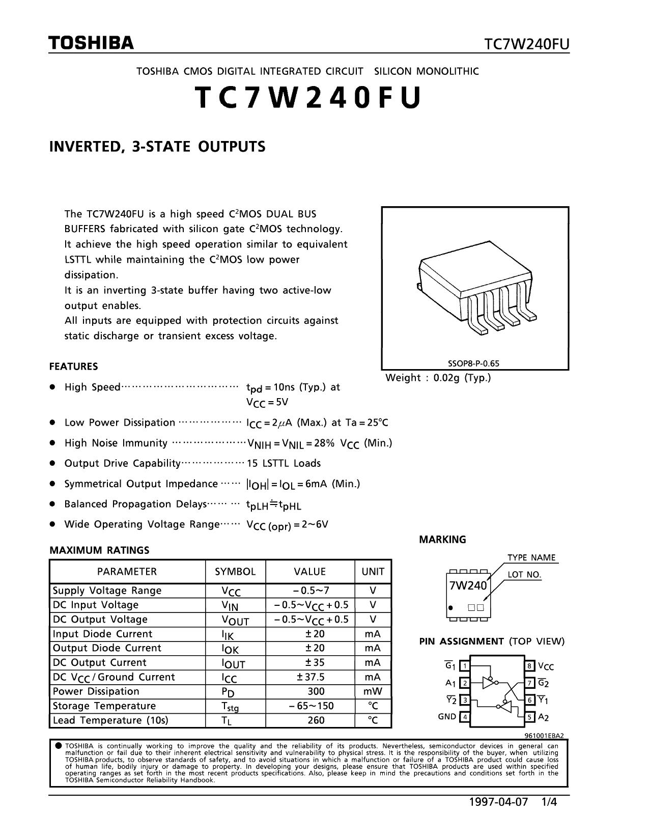 TC7W240FU دیتاشیت PDF