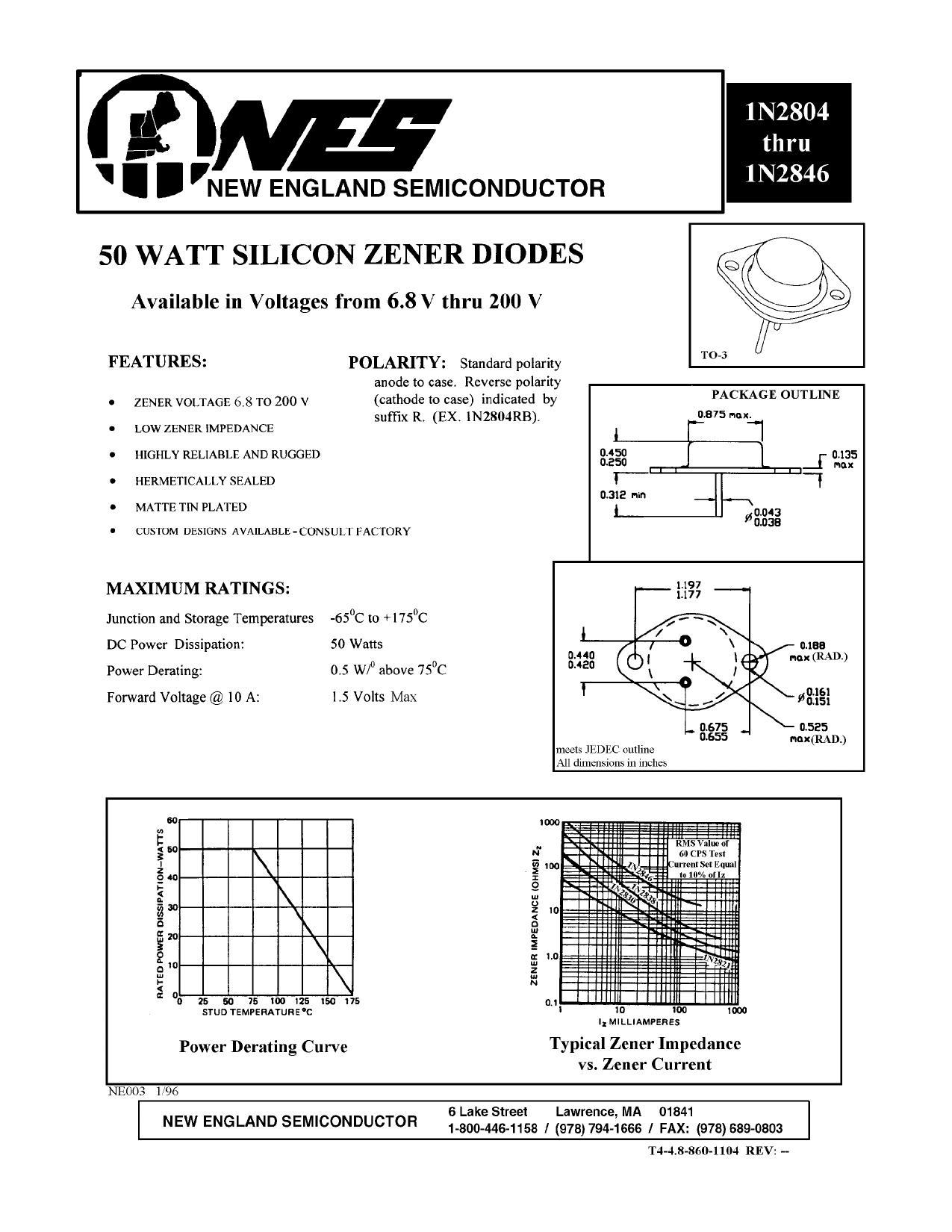 1N2826 دیتاشیت PDF