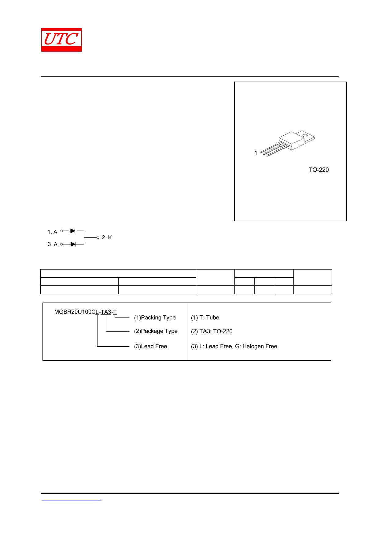 MGBR20U100C 데이터시트 및 MGBR20U100C PDF
