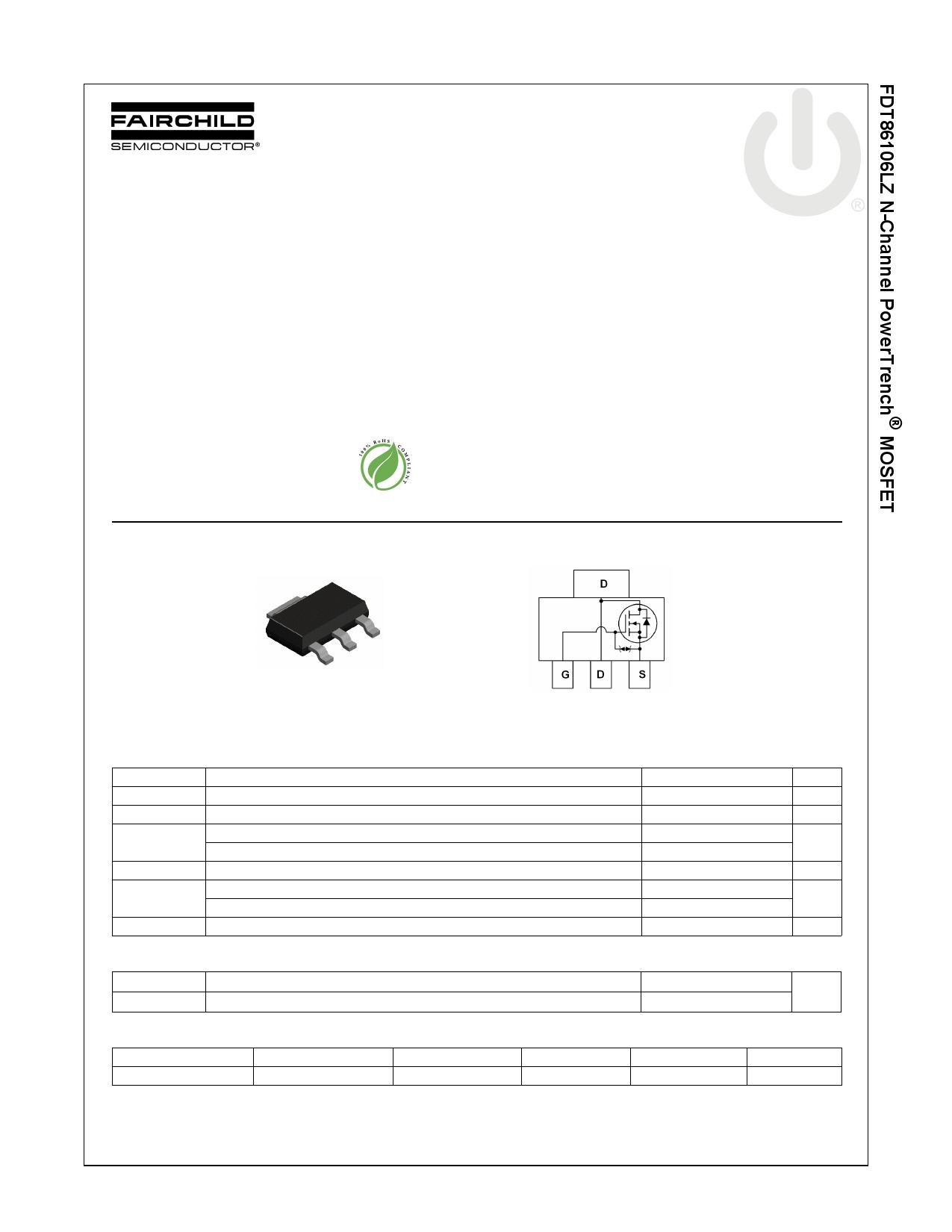 FDT86106LZ 데이터시트 및 FDT86106LZ PDF