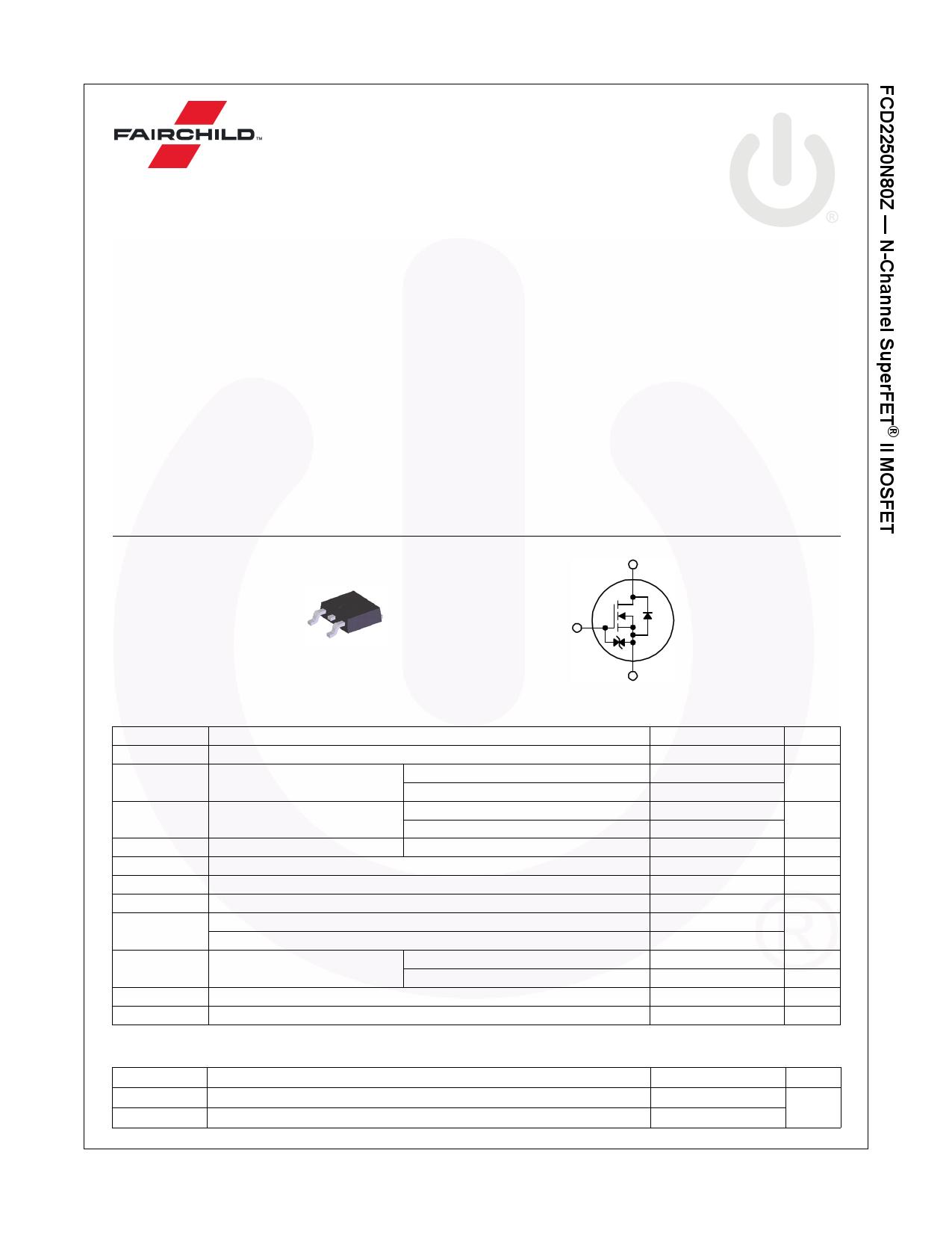 FCD2250N80Z Hoja de datos, Descripción, Manual