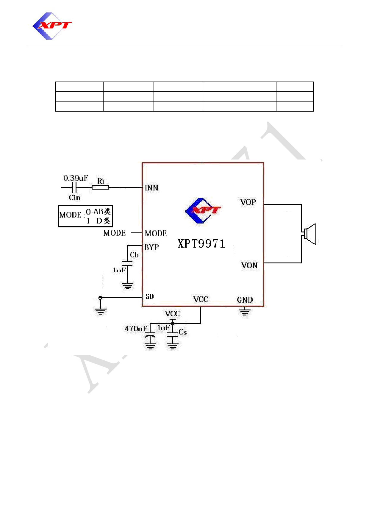 XPT9971 pdf, schematic