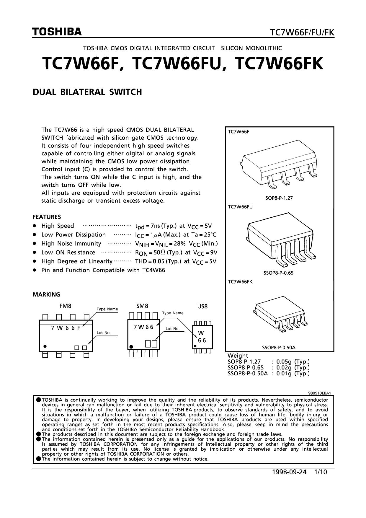 TC7W66FK دیتاشیت PDF