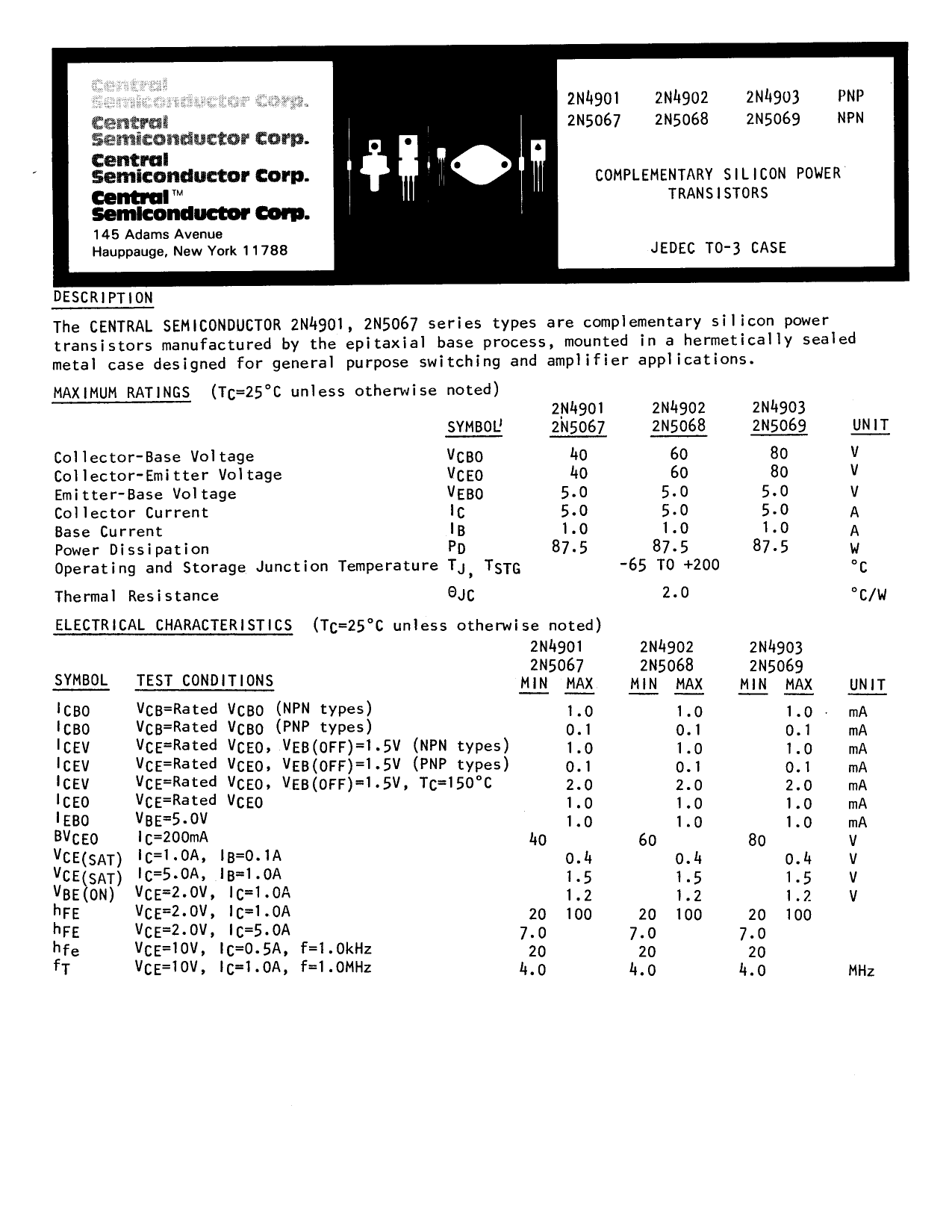 2N4901 دیتاشیت PDF