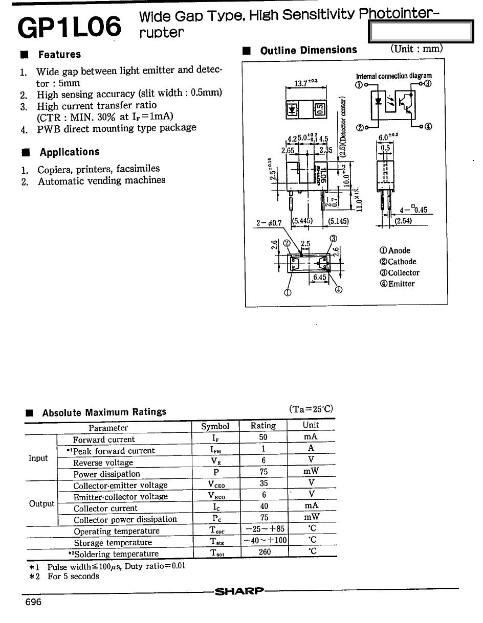 GP1L06 Datasheet, GP1L06 PDF,ピン配置, 機能