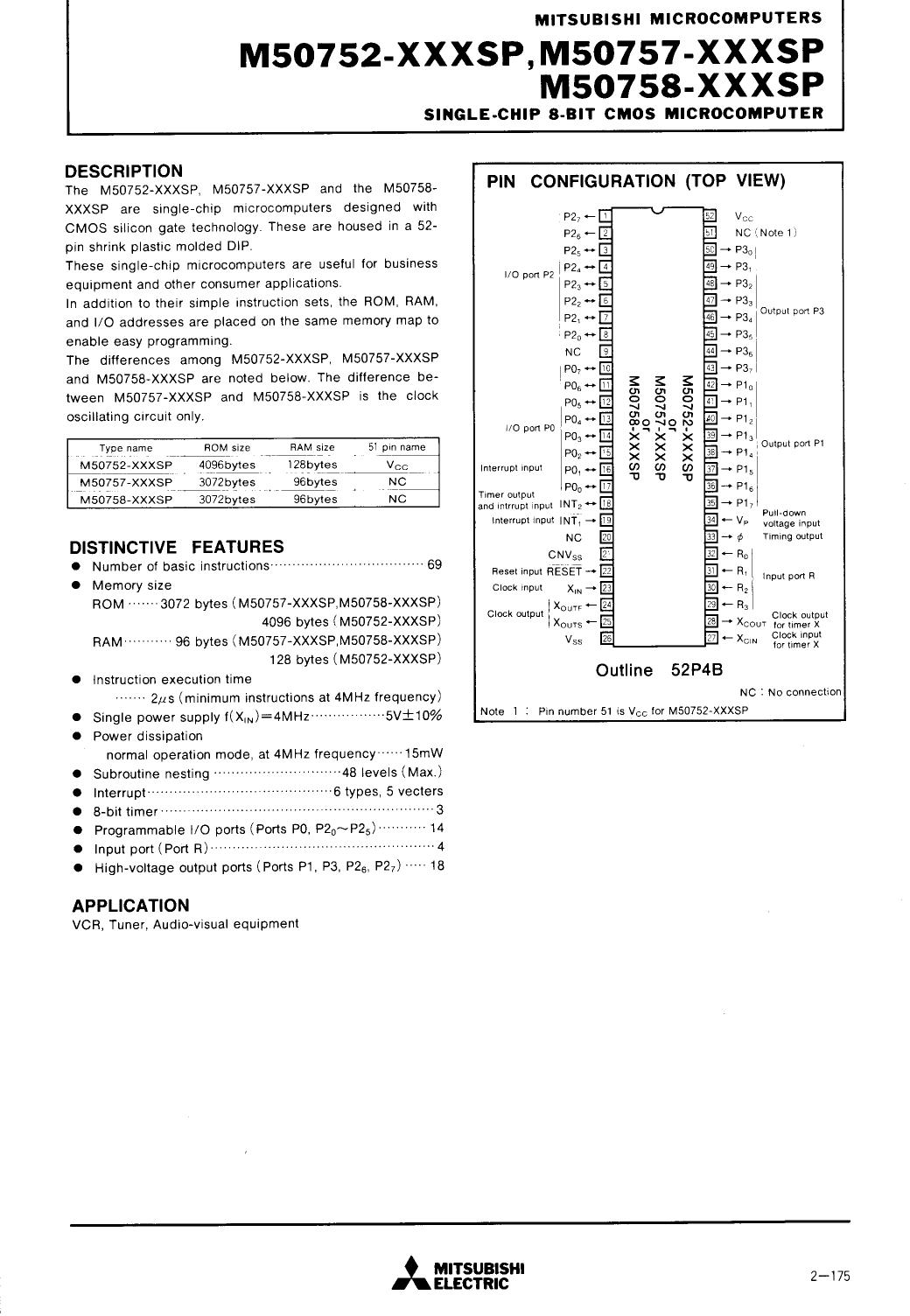 M50752-XXXSP datasheet