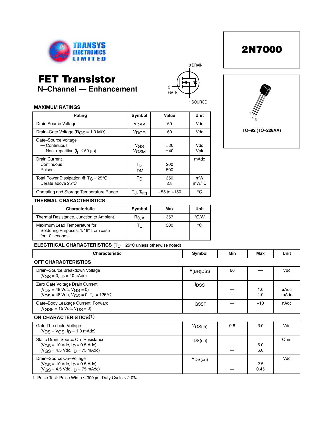 2N7000 데이터시트 및 2N7000 PDF