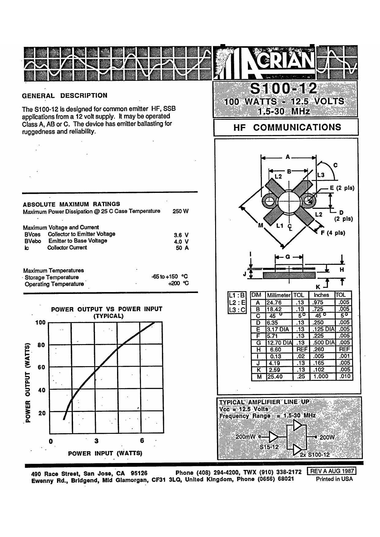 S-100-12 datasheet