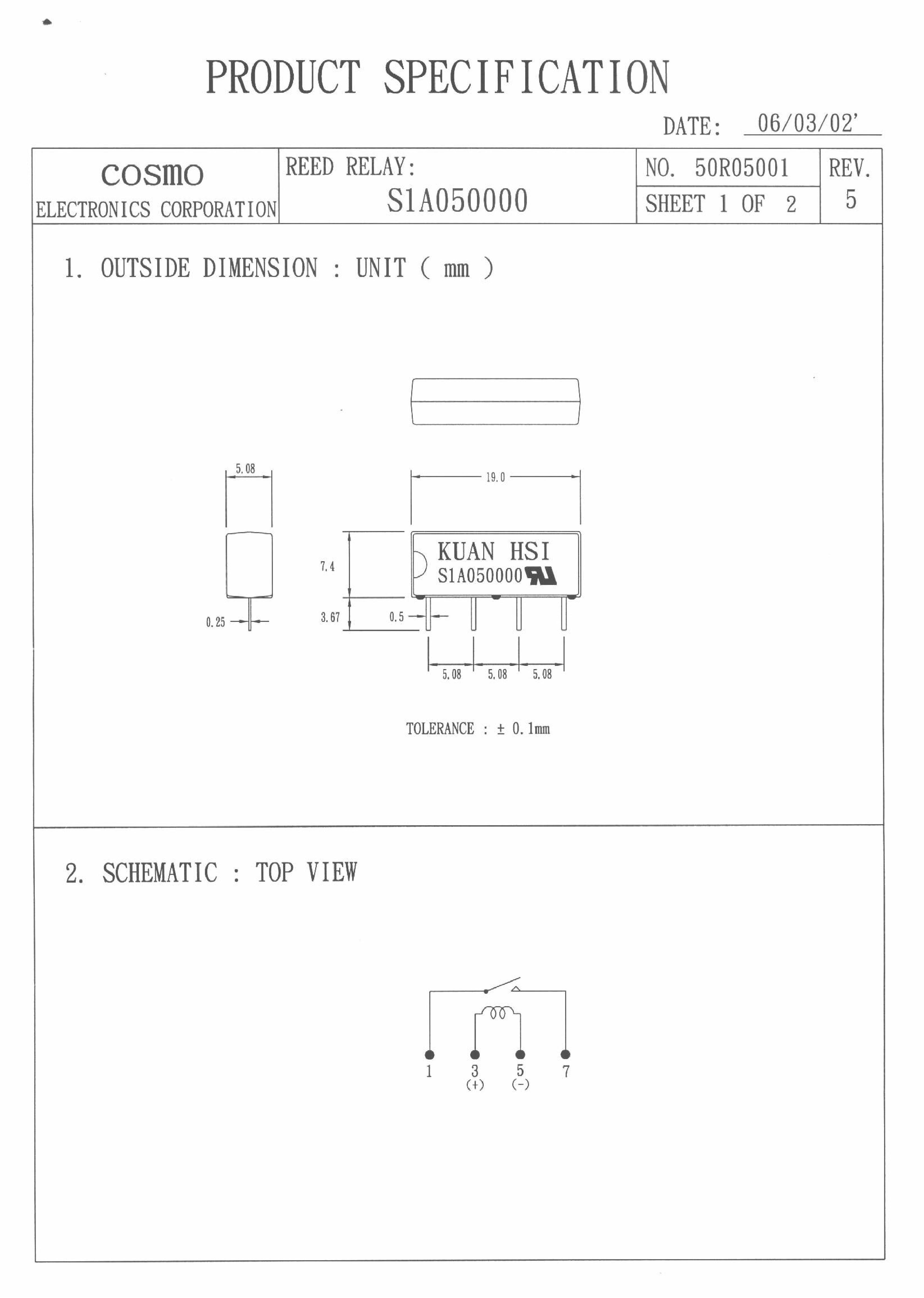 S1A050000 دیتاشیت PDF