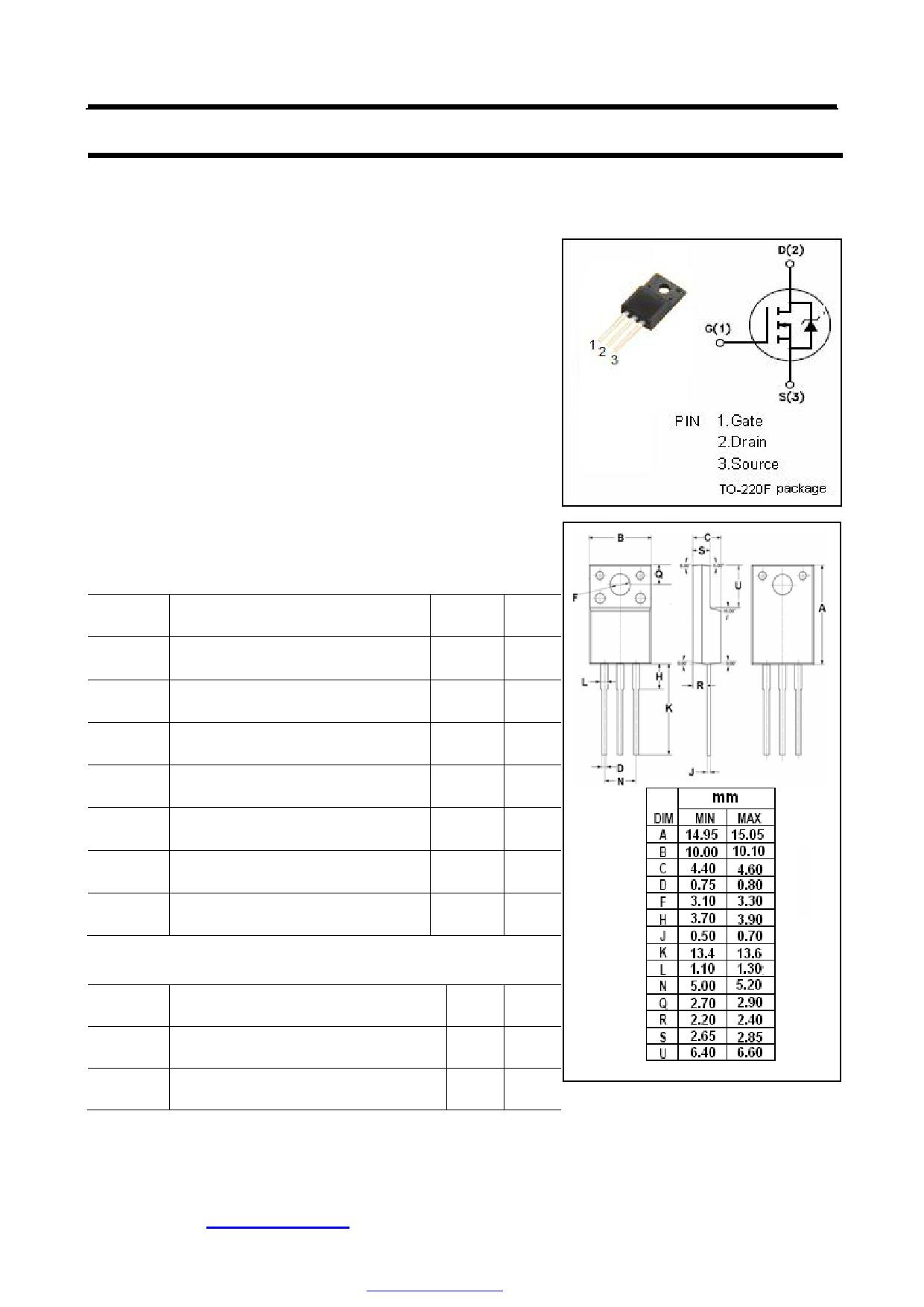18N50 datasheet pinout