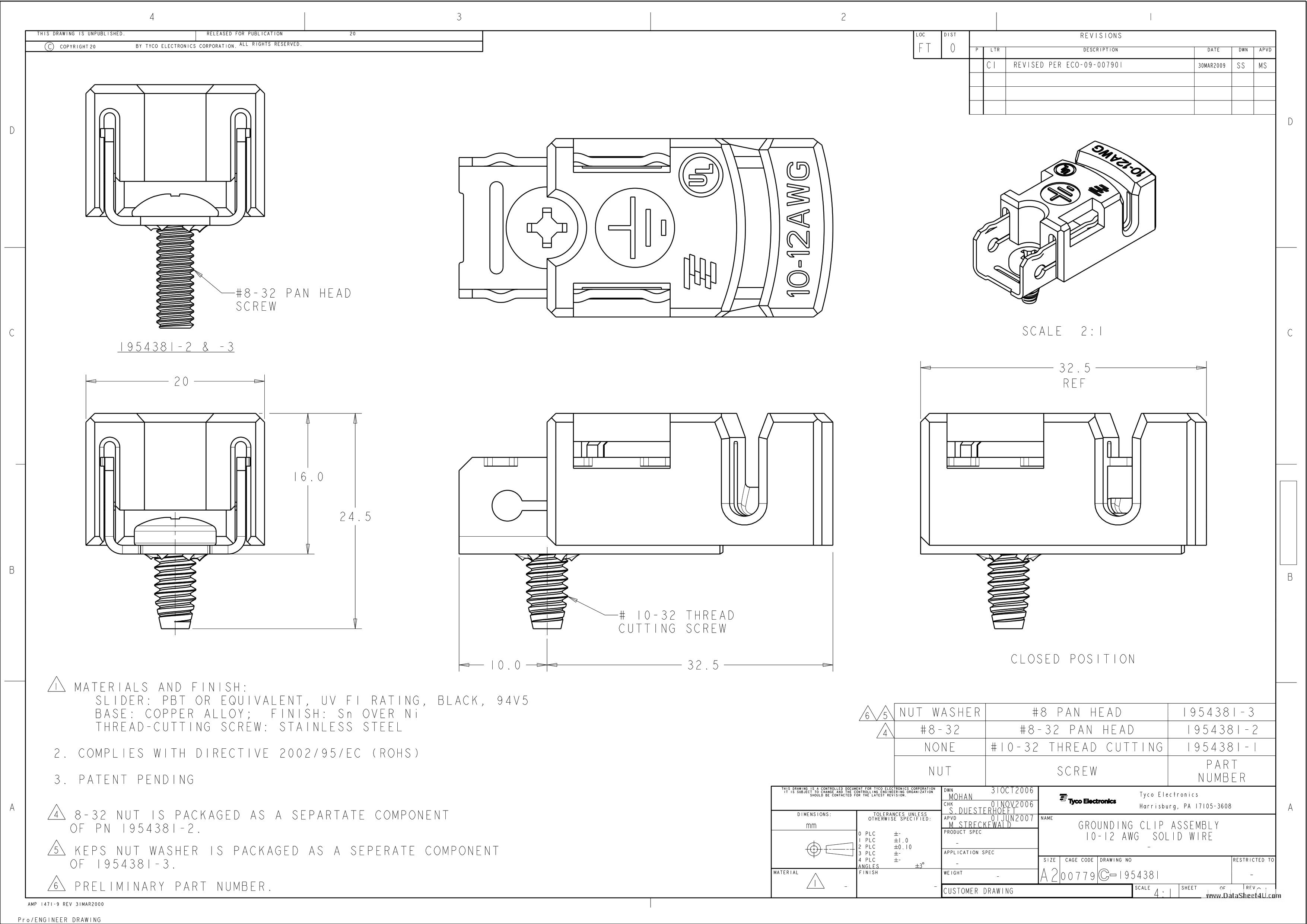 C-1954381 Hoja de datos, Descripción, Manual