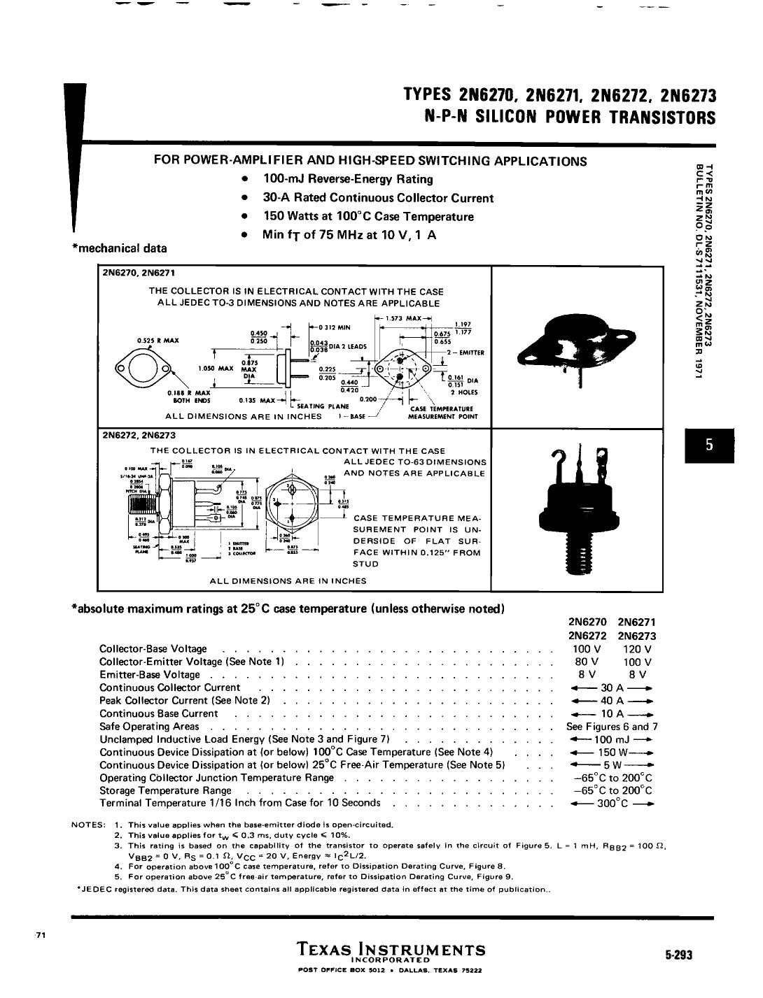 2N6270 دیتاشیت PDF