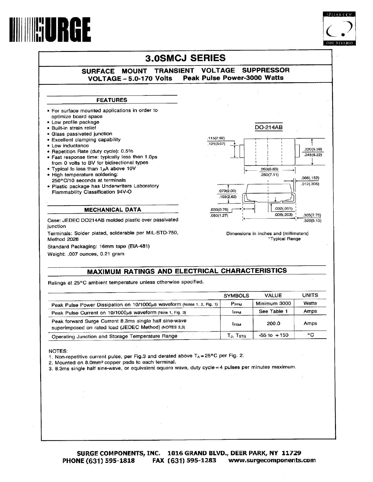 3.0SMCJ100C دیتاشیت PDF