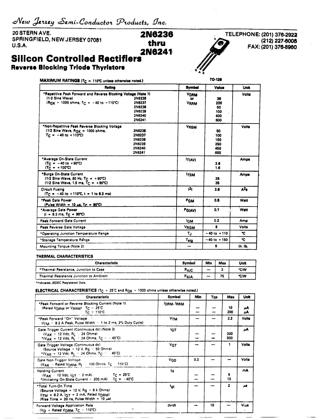2N6241 دیتاشیت PDF