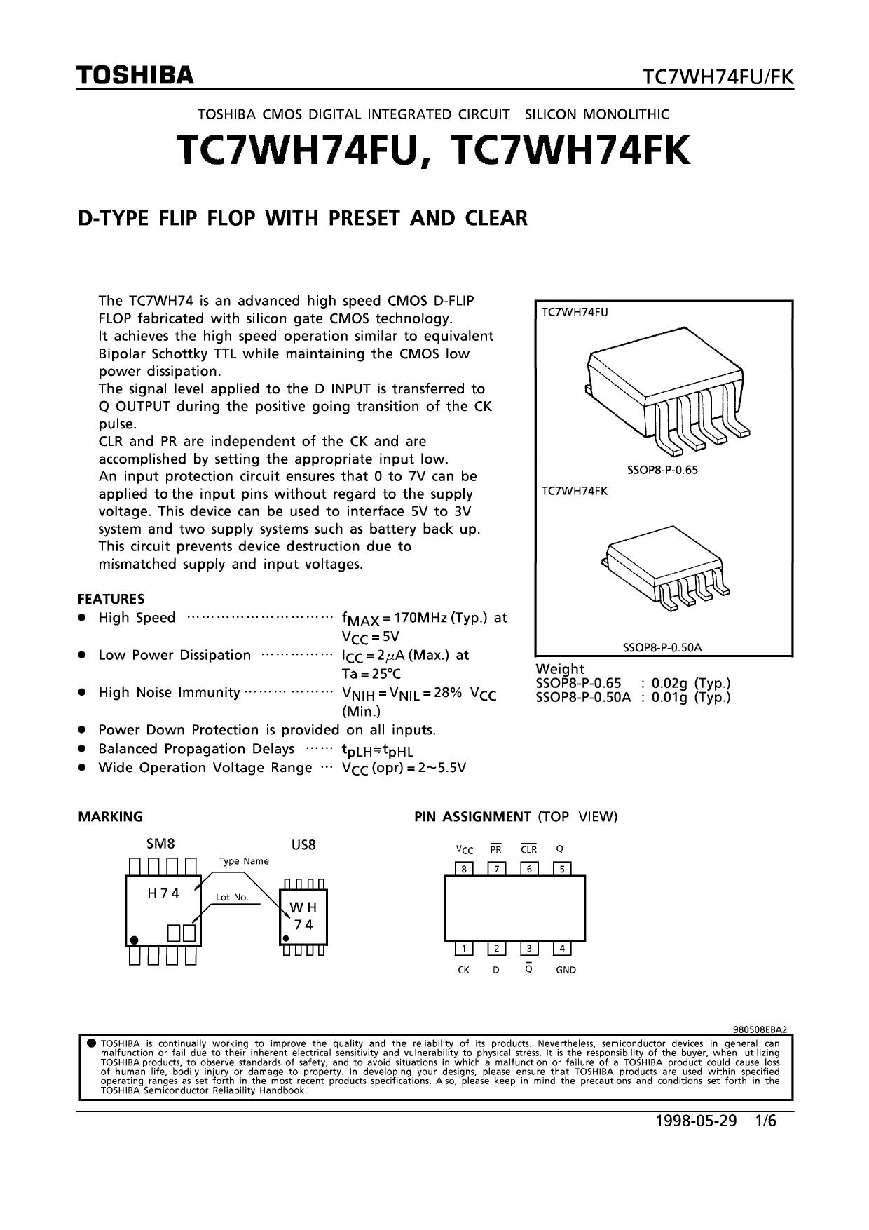 TC7WH74FU دیتاشیت PDF