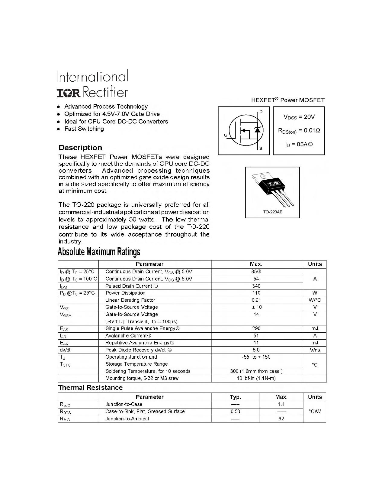 IRL3402PbF Datasheet, IRL3402PbF PDF,ピン配置, 機能