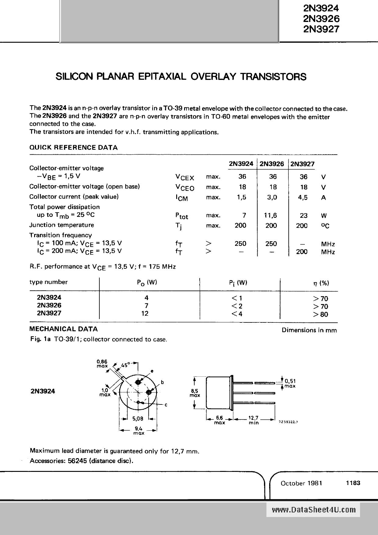 2N3927 دیتاشیت PDF