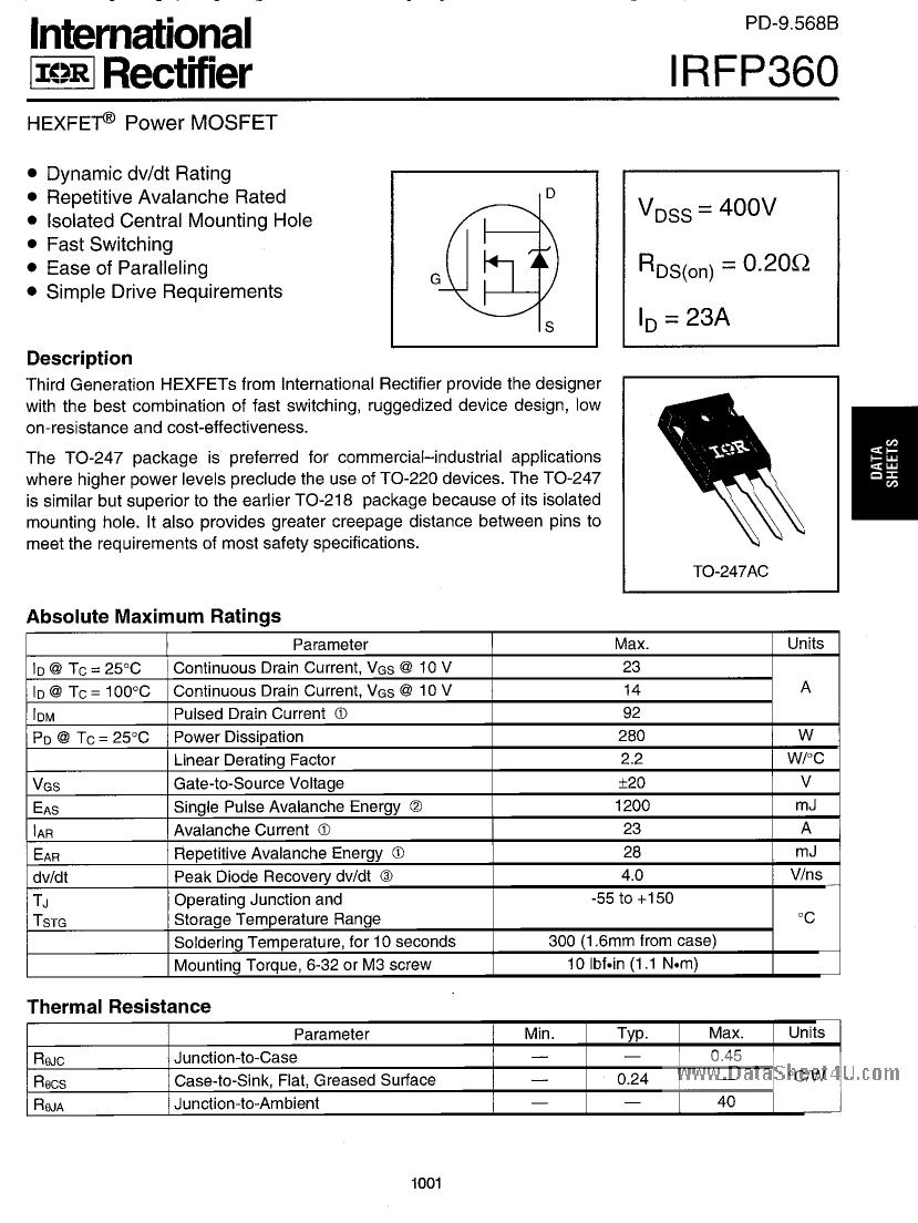 Irfp360 Datasheet Ebook Download Irfz44 To
