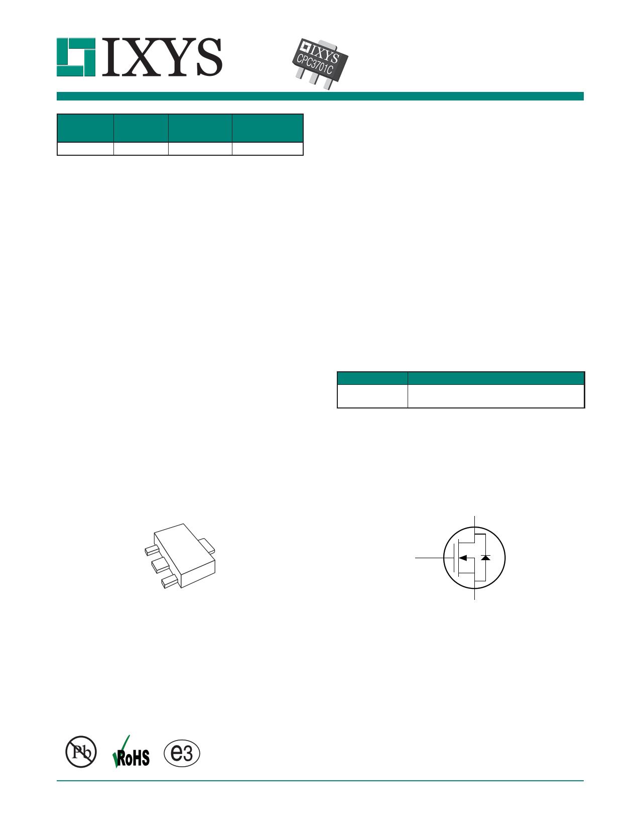 CPC3701 Datasheet, CPC3701 PDF,ピン配置, 機能