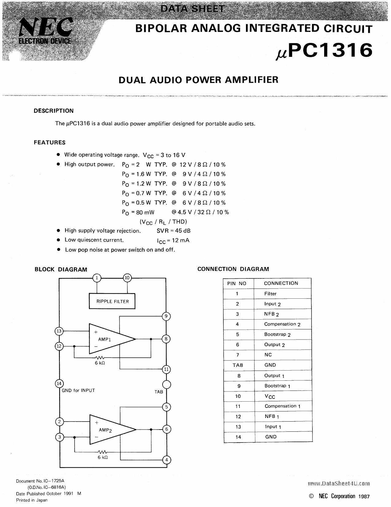 C1316C Datasheet, C1316C PDF,ピン配置, 機能
