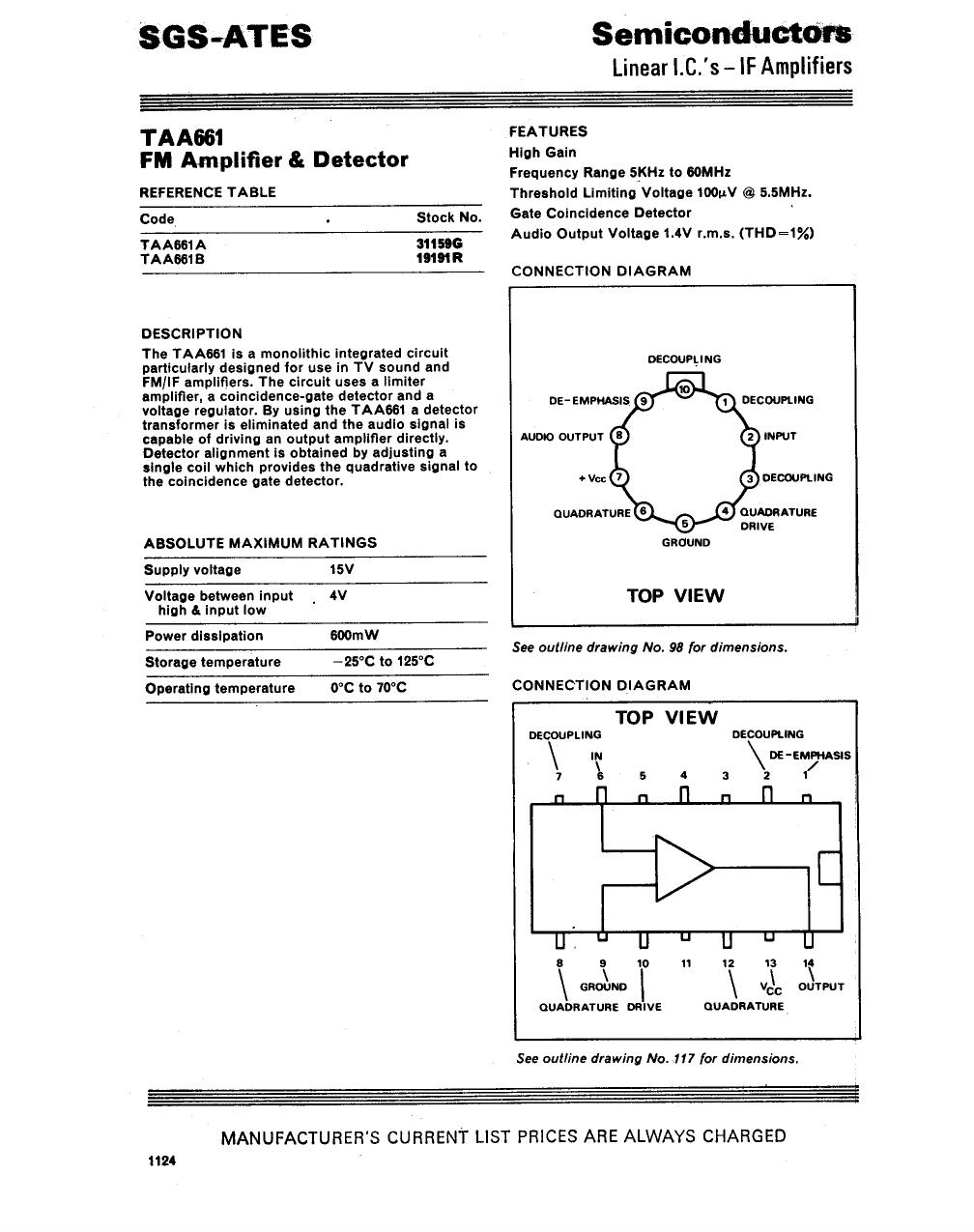 TAA661B datasheet