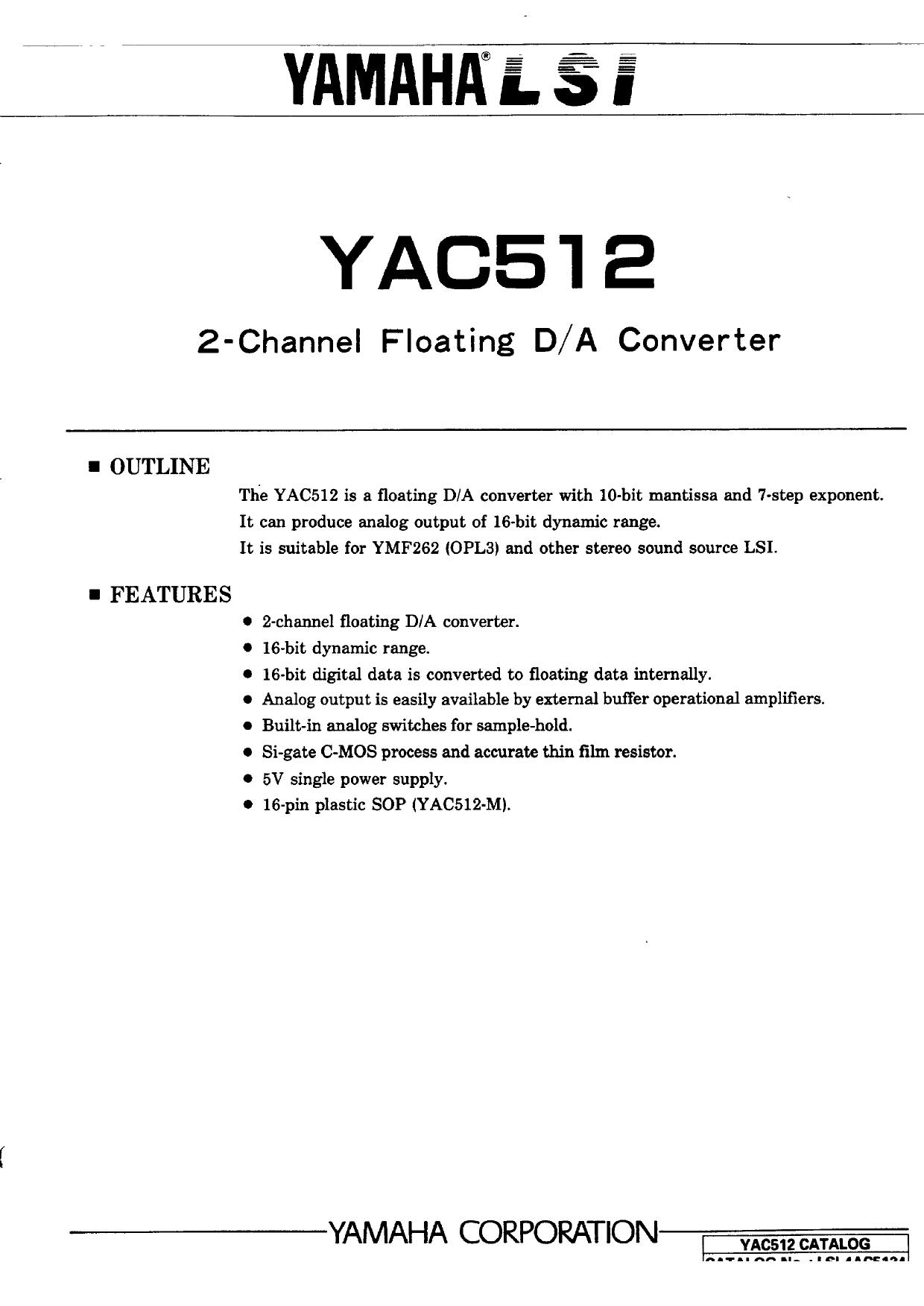 YAC512 دیتاشیت PDF