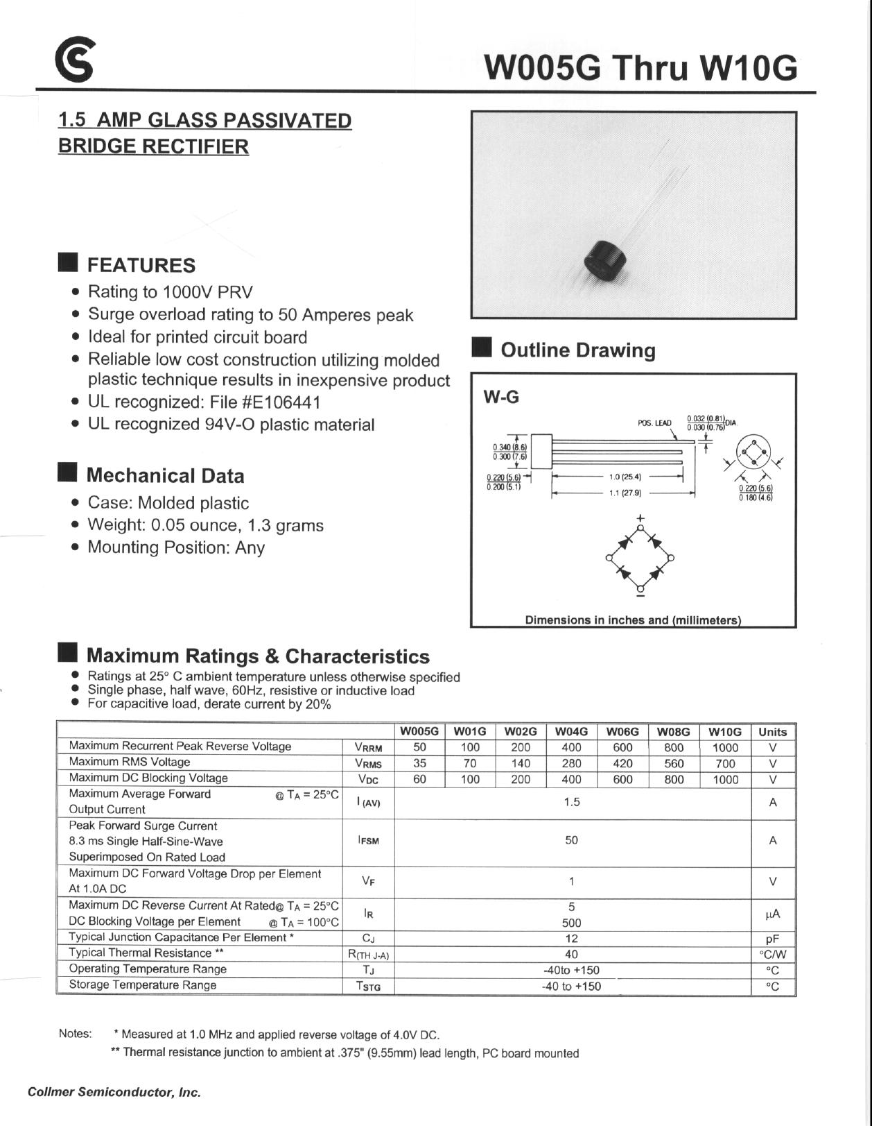 W005G Hoja de datos, Descripción, Manual