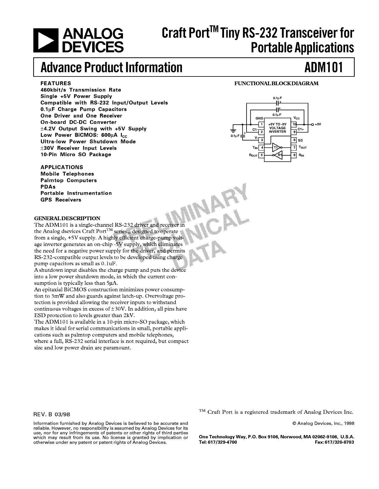 ADM101 datasheet, circuit