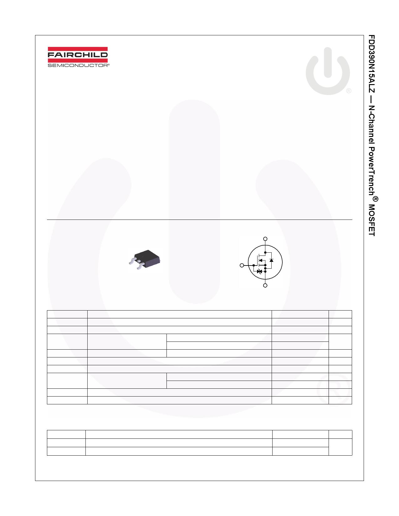 FDD390N15ALZ 데이터시트 및 FDD390N15ALZ PDF