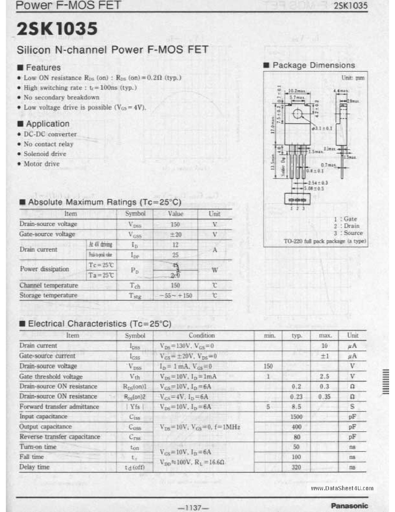 K1035 Hoja de datos, Descripción, Manual