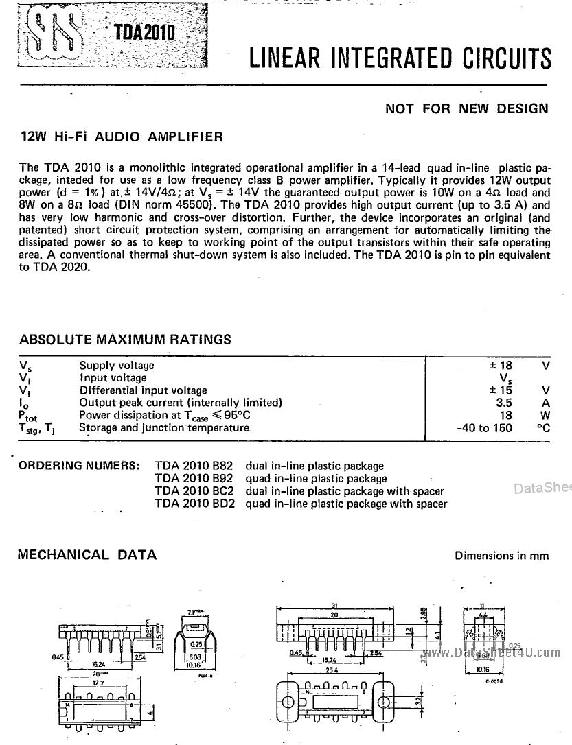 TDA2010 datasheet pinout