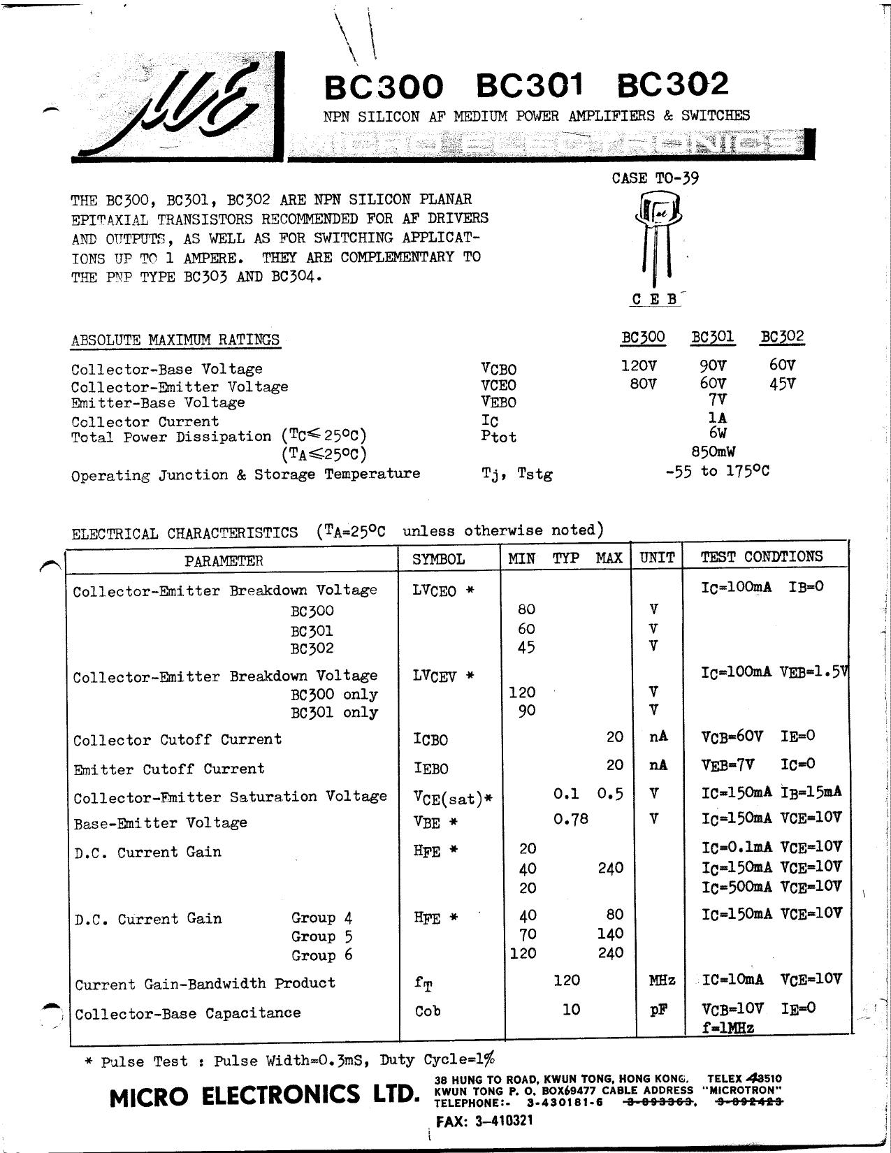 BC301 Datasheet, BC301 PDF,ピン配置, 機能