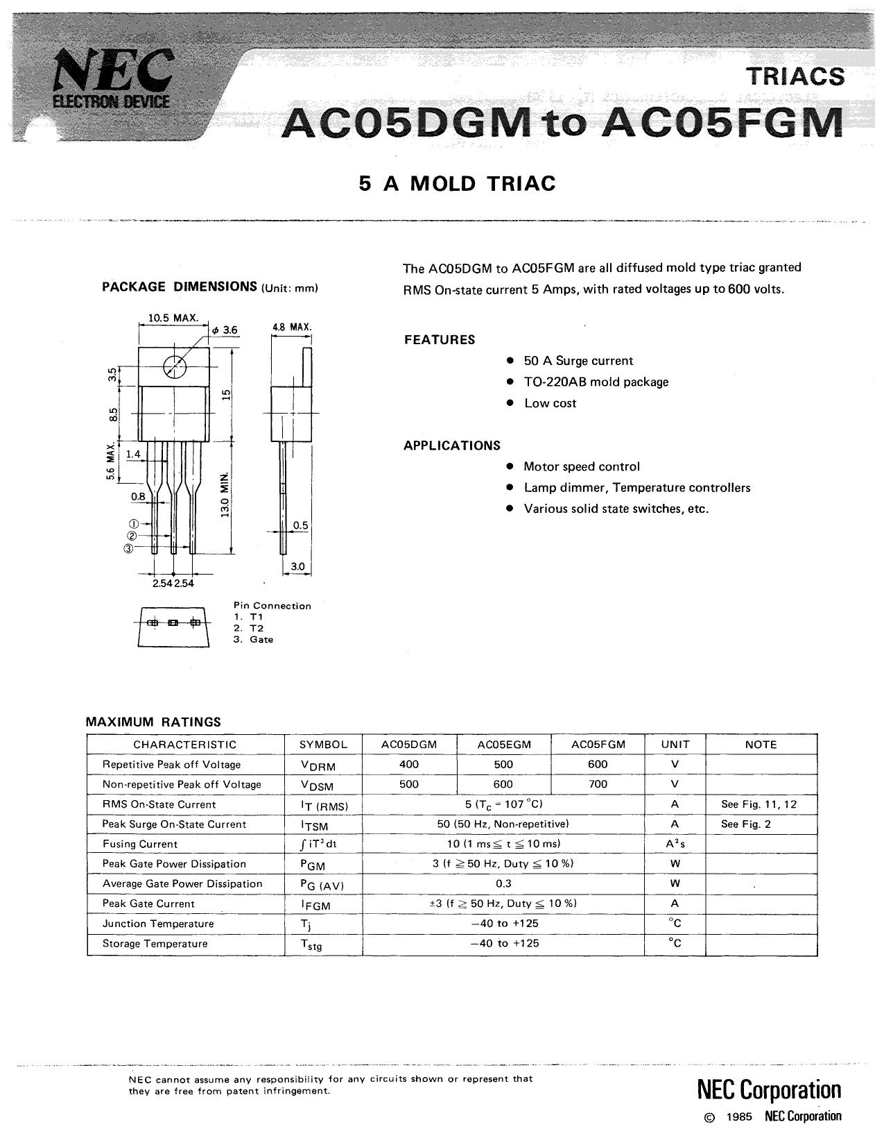 AC05DGM دیتاشیت PDF