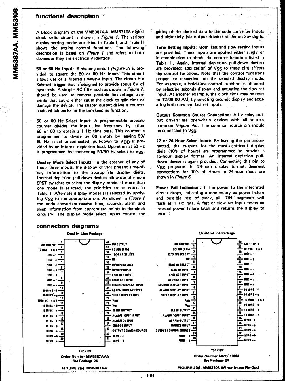 MM53108 pdf, 電子部品, 半導体, ピン配列