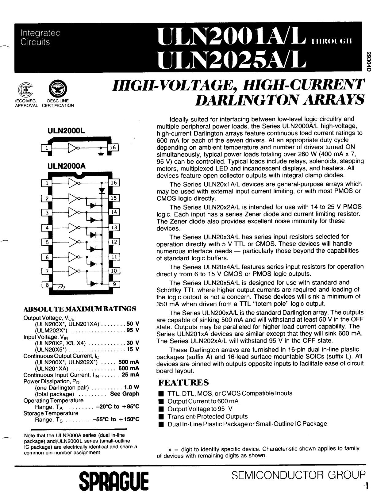 ULN2004A Datasheet, ULN2004A PDF,ピン配置, 機能