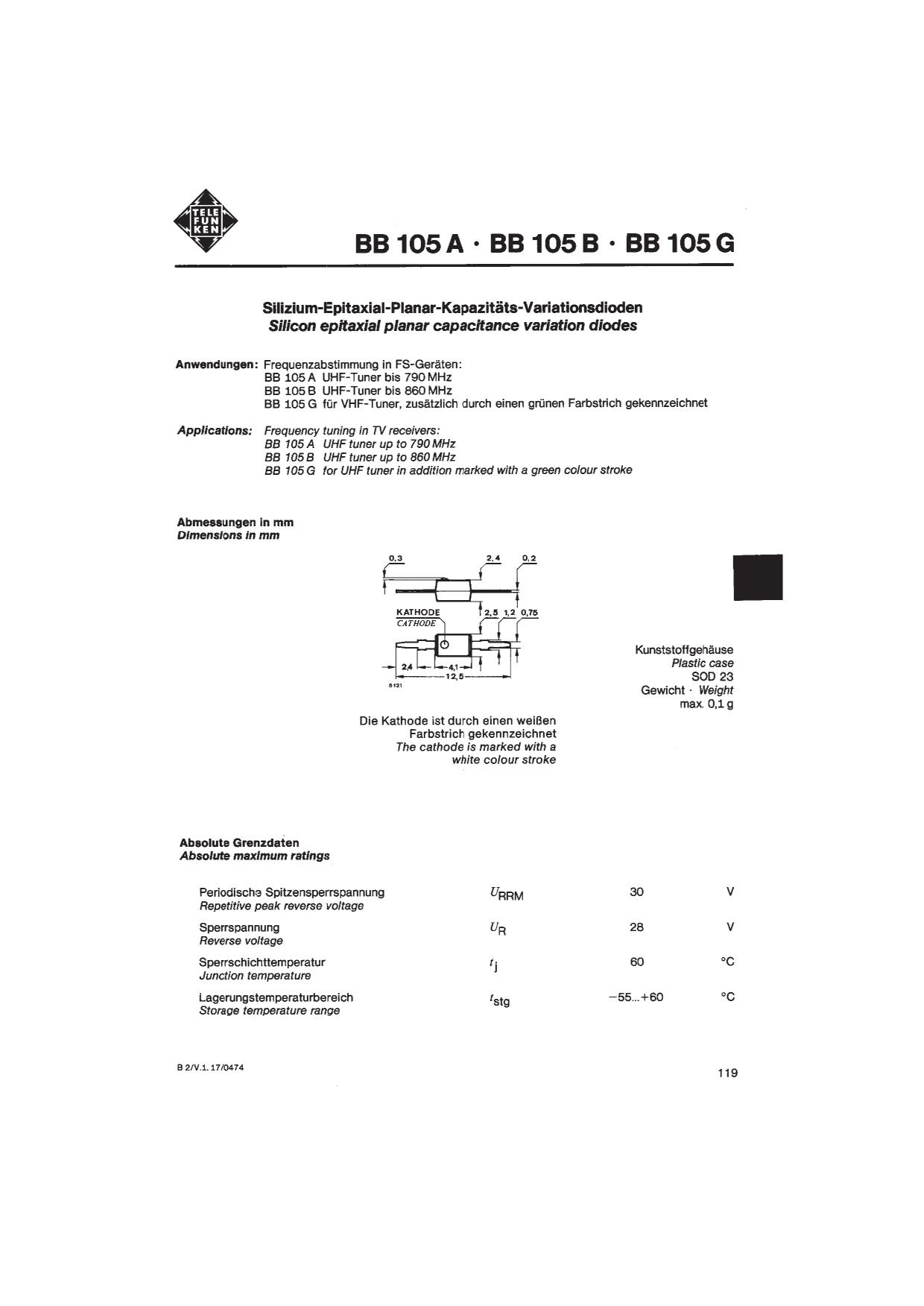 BB105B دیتاشیت PDF