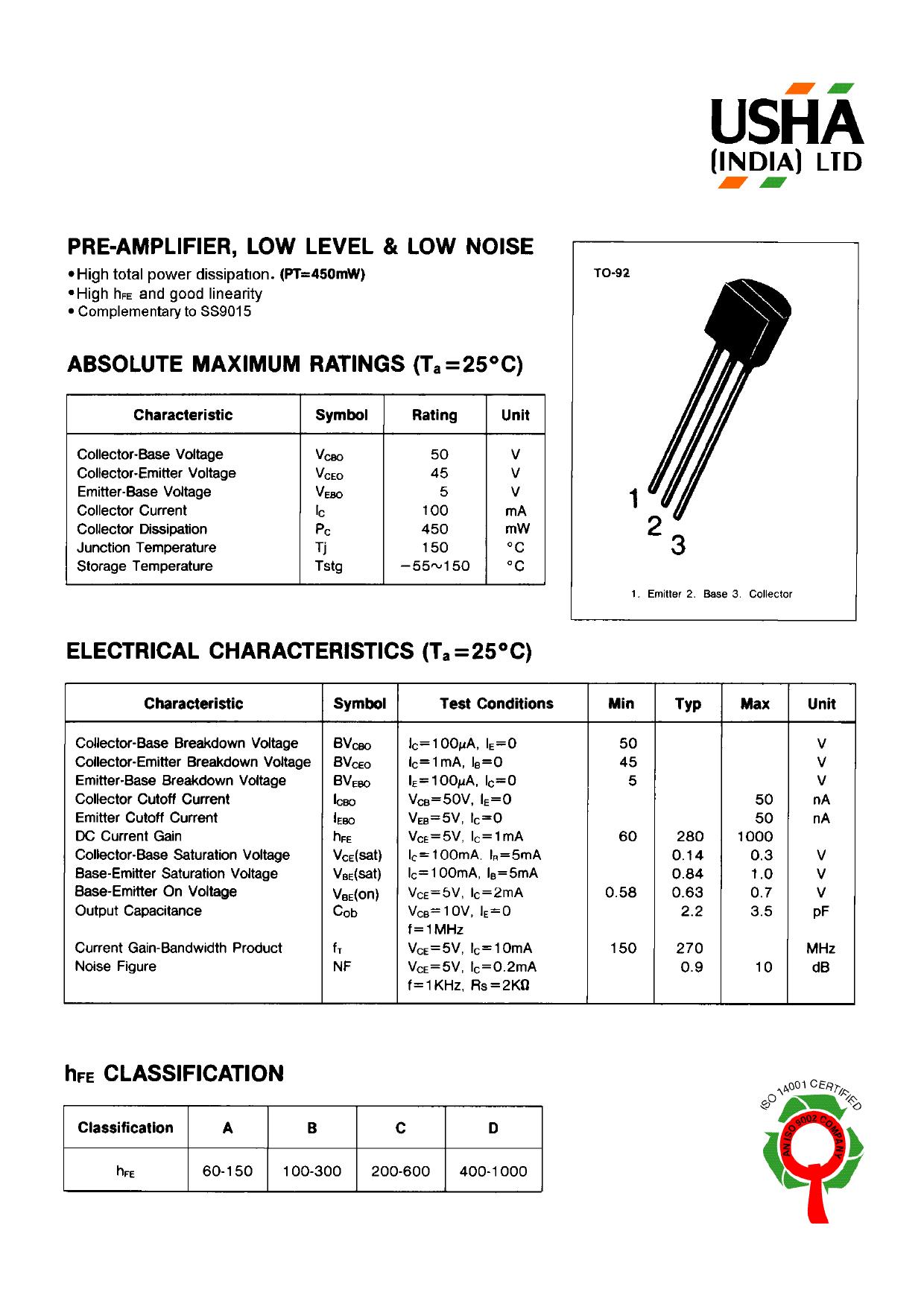 2sc9014 datasheet pdf pinout transistors for Transistor fonction