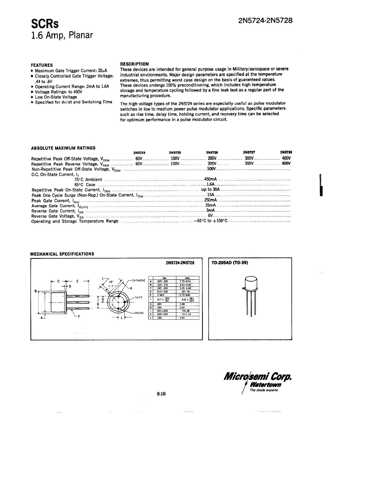 2N5724 دیتاشیت PDF